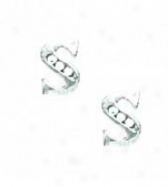 14k Of a ~ color 1.5 Mm Round Cz Initial S Post Earrings