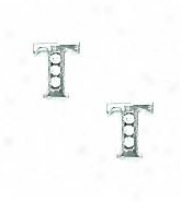 14k White 1.5 Mm Round Cz Initial T Post Earrings