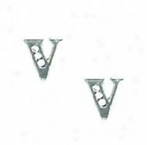 14k White 1.5 Mm Round Cz Initial V Post Earrings