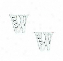 14k White 1.5 Mm Round Cz Initial W Post Earrings