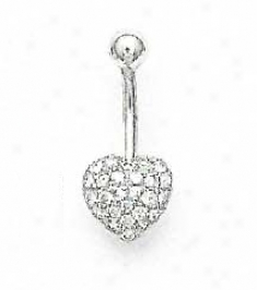 14k White 1.5 Mm Round Cz Pave Heart Belly Race-course