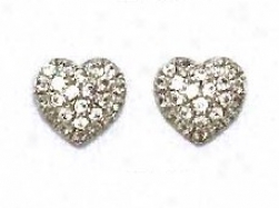 14k White 1.5 Mm Round Cz Pave Seat of life Post Earrings