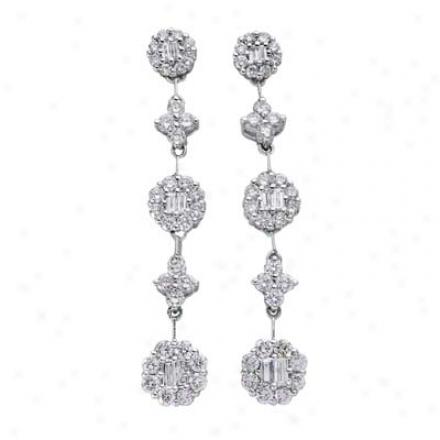 14k White 1.66 Ct Diamond Earrings