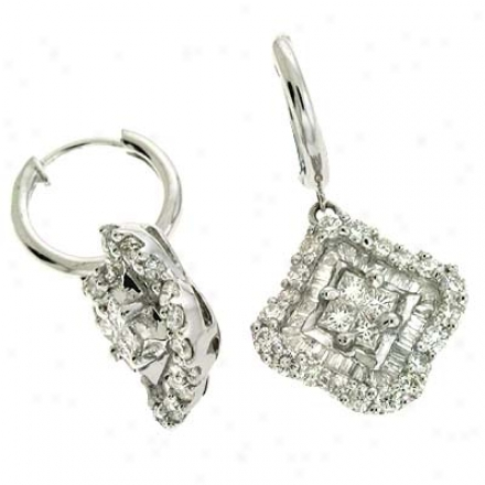 14k White 1.69 Ct Diamond Earrinngs