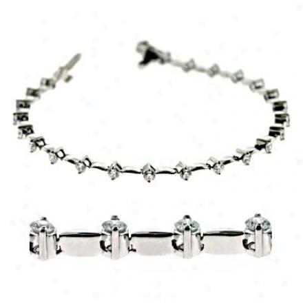 14k White 2 Ct Diamond Bracelet