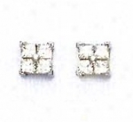 14k White 2 Mm Princess Cz Small Friction-back Post Earrings
