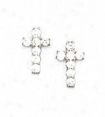14k White 2 Mm Round Cz Cross Friction-back Post Earrings