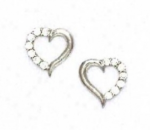 14k White 2 Mm Round Cz Disposition Shape Friction-back Earrings