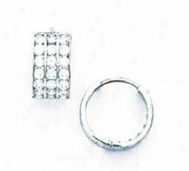 14k White 2 Mm Round Cz Hinged Earrings