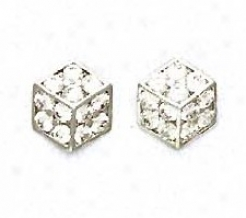 14k White 2 Mm Round Cz Large Dice Post Earrings