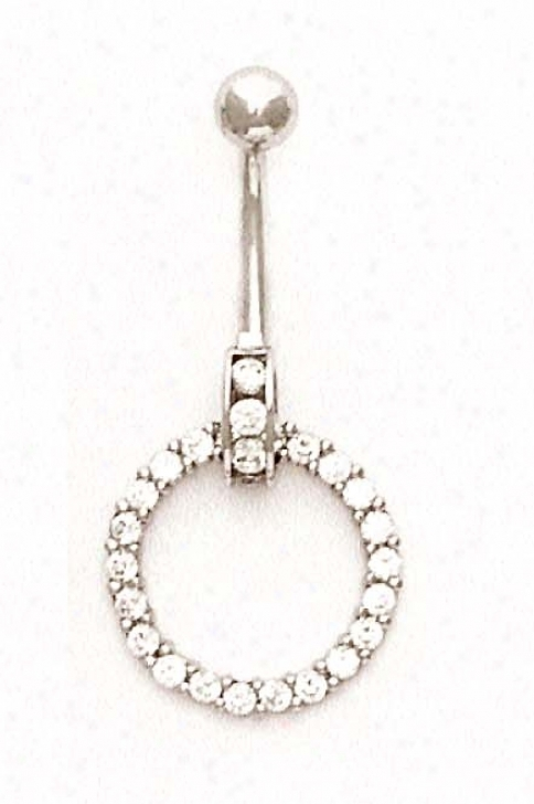 14k White 2 Mm Round Cz Open Circle Bell6 Ring