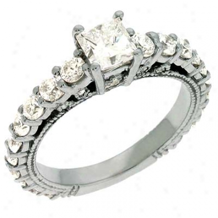 14k White 2.04 Ct Diamond Engagement Ring
