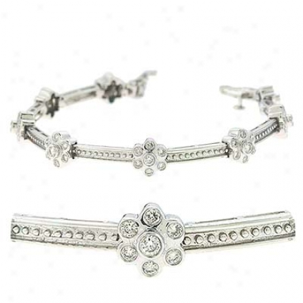 14k White 2.08 Ct Diamond Bracelet