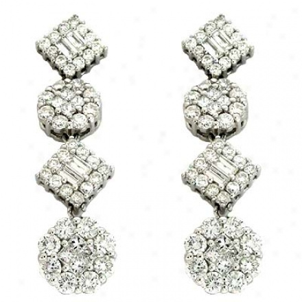 14k White 2.08 Ct Diamond Earrings