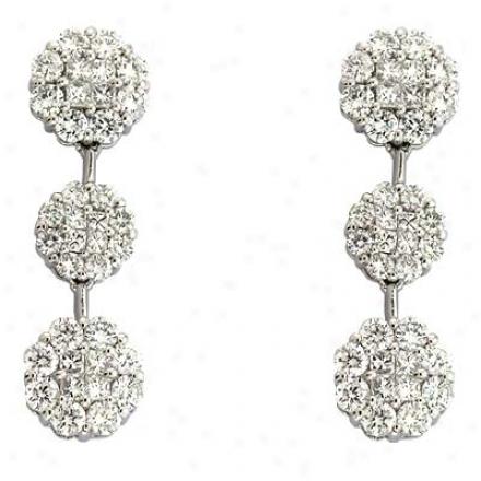 14k White 2.21 Ct Diamond Ear5ings