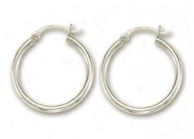 14k White 2.5 Mm Hoop Earringq