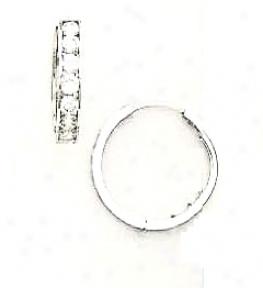 14k White 2.5 Mm Round Cz Hingwd Earrinys