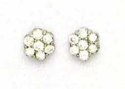 14k White 2.5 Mm Round Cz Small Flower Earrings