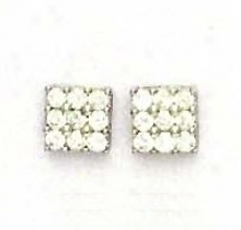 14k White 2.5 Mm Round Cz Square Design Earringx