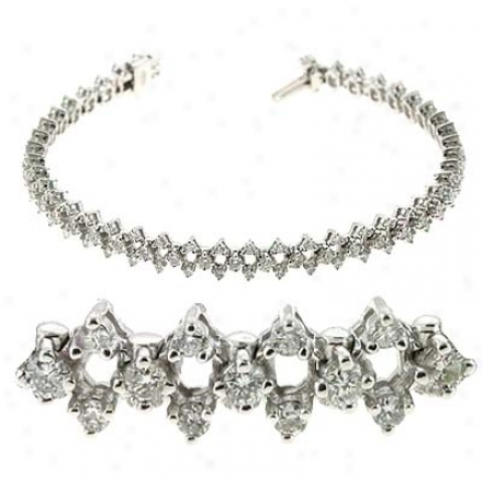 14k Pale 2.61 Ct Diamond Bracelet