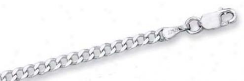 14k White 2.7 Mm 2.7mm Curb Link Anklet - 10 Inch