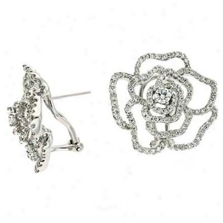 14k White 2.78 Ct Diaond Earrings