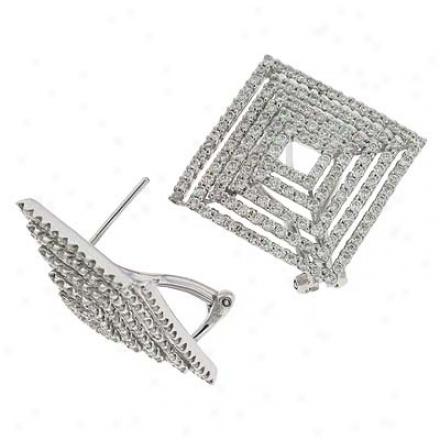 14k White 2.98 Ct Diamond Earrings