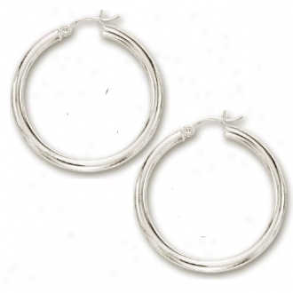 14k White 2x30 Mm Shiny Hoop Earrings