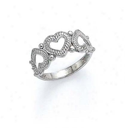 14k White 3 Heart Ring