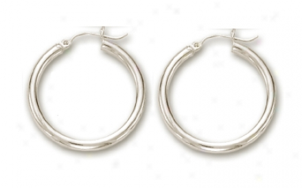 14k White 3 Mm Hoop Earrings