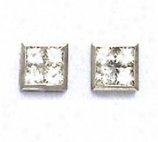 14k White 3 Mm Princess Cz Large Fritcion-back Post Earrings