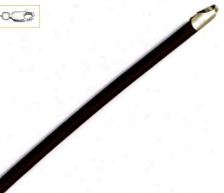 14k White 3 Mm Round Black Rubbe Necklace - 16 Invh