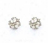 14k White 3 Mm Round Cz Small Cube Post Earrings