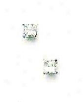 14k White 3 Mm Square Cz Fricfion-back Post Stud Earrings