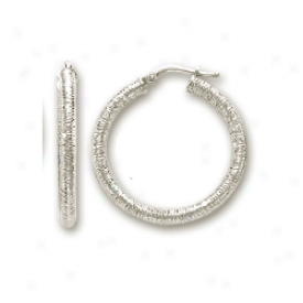 14k Pale 3 Mm Velvet Design Hoop Earrings