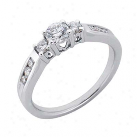 14k White 3 Stone 0.68 Ct Diamond Engagement Ring