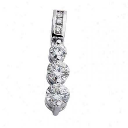14k White 3 Stone 0.75 Ct Diamond Pendant