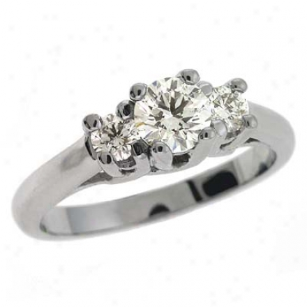 14k White 3 Stone 0.75 Ct Diamond Ring