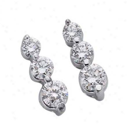 14k White 3 Stone 1 Ct Diamond Earrings