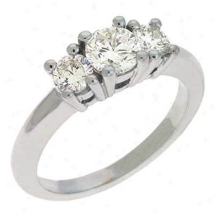 14k White 3 Stone 1 Ct Diamond Ring