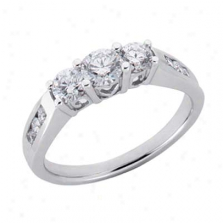14k White 3 Stone 1.06 Ct Brilliant Engagement Ring