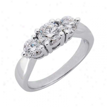 14k White 3 Stone 1.25 Ct Diamond Ring