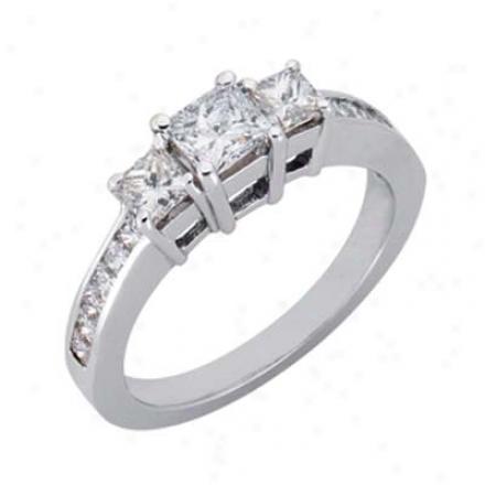 14k White 3 Stone 1.3 Ct Rhombus Engagement Ring