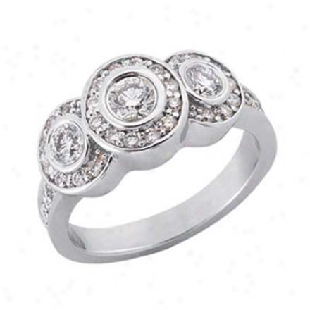14k White 3 Stone 1.34 Ct Diamond Engagement Riny