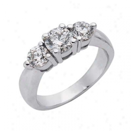 14k Whife 3 Stone 1.46 Ct Diamond Ring