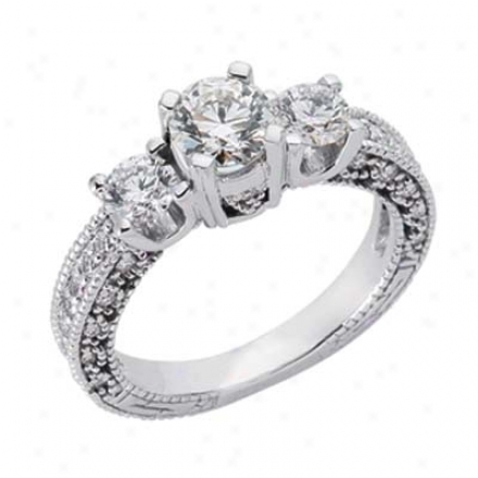 14k White 3 Stone 1.71 Ct Diamond Ring