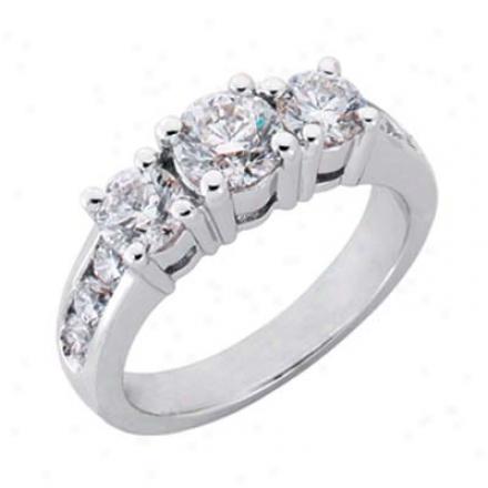 14k White 3 Stone 2.02 Ct Diamond Engagement Ring