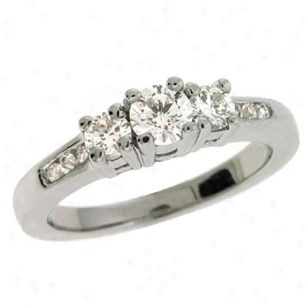 14k White 3 Stone Designer 0.52 Ct Diamond Ring