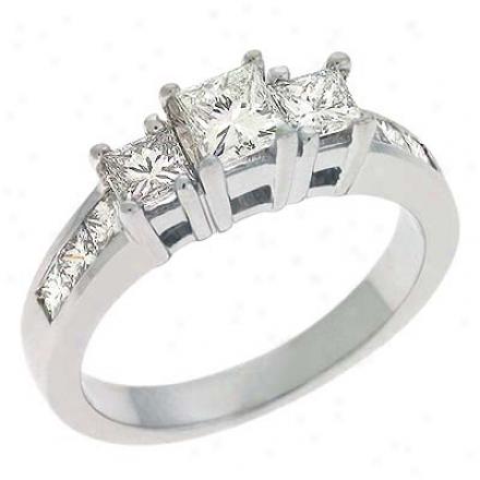 14k White 3 Stone Designer 1.35 Ct Diamond Ring