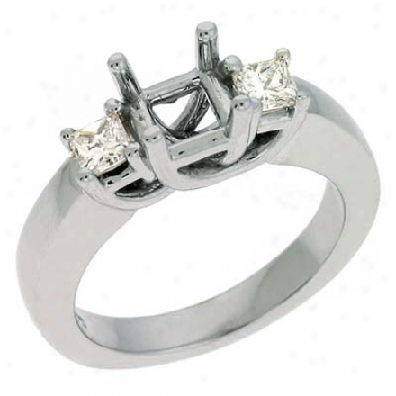 14k White 3 Stone Princess Cut Diamond Engagement Ring
